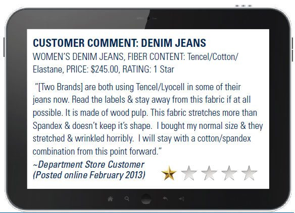 Customer Comment on Denim Jeans